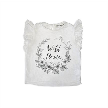 Camiseta Dear Mini flores blanco