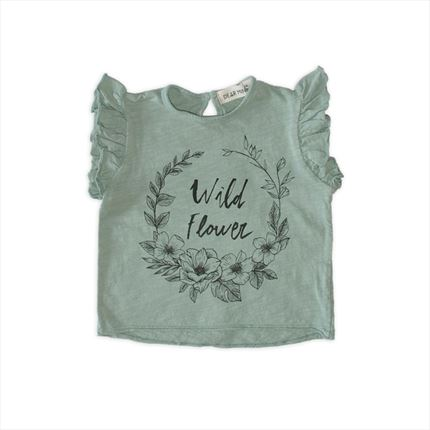 Camiseta Dear Mini flores gris salvia
